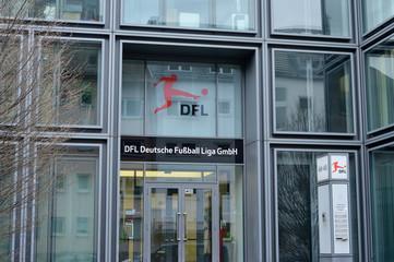 Frankfurt Main, Germany 03-11-2020 building of the german football league - Deutsche Fussball Liga with symbols