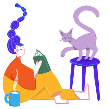 Woman reading with a cat