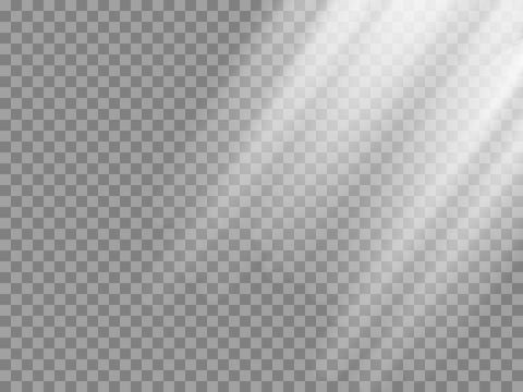 Shining sun rays vector illustration. Sunlight glowing png, eps, ai, svg effect. White beam sunrays sky background