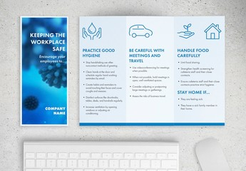 Medical Trifold Brochure Layout with Coronavirus Information
