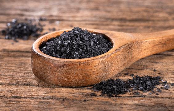 Hawaii black salt on wooden spoon