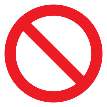 No sign, ban vector icon, stop symbol, red circle with oblique line isolated mark