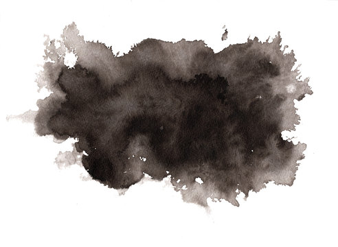 Abstract expressive textured black ink or watercolor stain. Monochrome gradient dynamic isolated inky horizontal blob, dark thunderous cloud concept for texture, black friday banner design, background