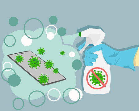Vector of a spray disinfecting phone from germs and viruses