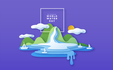 World water day paper cut boat beach concept