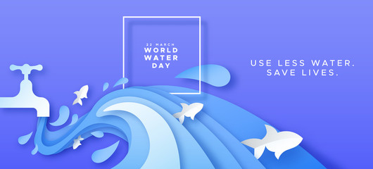 World water day card of paper cut tap waste