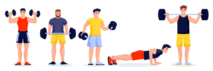Male athletes in different poses on white background. Gym characters with barbells and dumbbells. Vector illustration