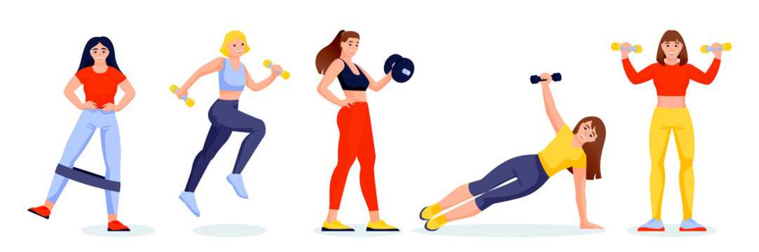 Female athletes in gym in different poses. Girls characters with fitness band and dumbbells. Vector illustration