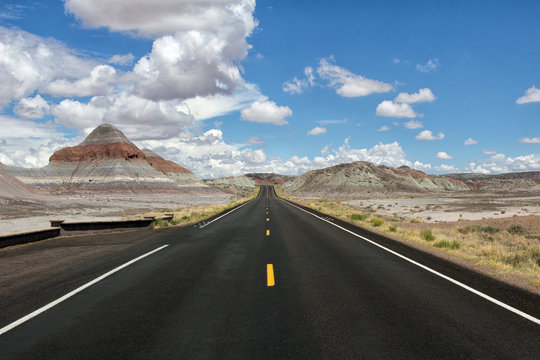 road in the mountains of painted desert national park, historic route 66, arizona usa
