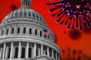 US Flag Capitol State Building Covid19 2020 Pandemic