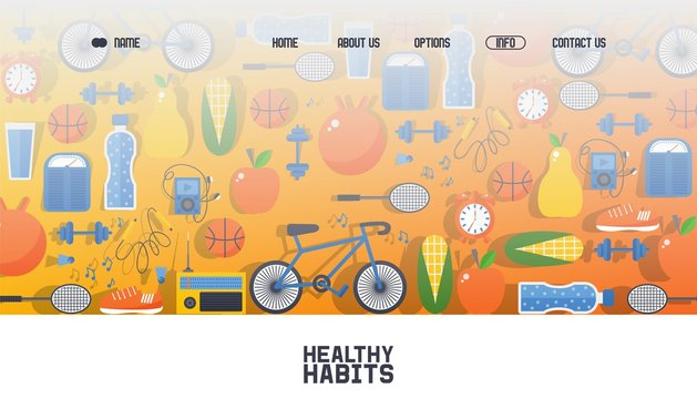 Banner for web healthy habit, outdoor sport poster, cycling, sport game vector illustration. Contact us, about us, home, options button. Web site design template, health business company.