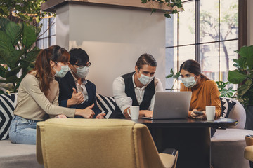 business new normal business people with mask meeting in workplace