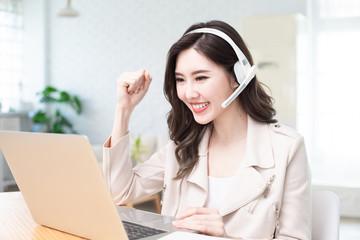 woman has successful video meeting