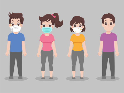 Set of people wearing face mask with different types of face mask for prevent virus Wuhan Covid-19.Corona virus.Health care concept.