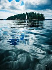 San Juan Islands with sail boat, Washington state, Pacific Northwest