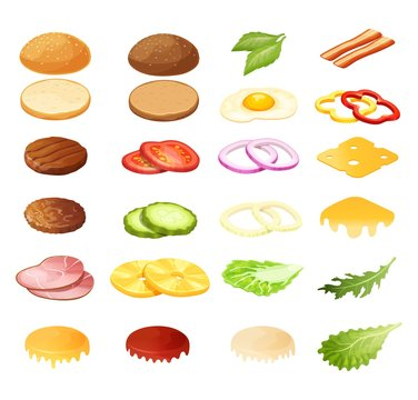Isometric burger sandwich constructor vector illustration. 3d cartoon food menu ingredients for hamburger, product sandwich maker. Bread, salad, meat and bacon, cheese snack icon set isolated on white