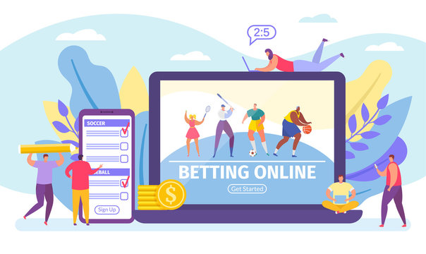 Betting online game, bets on sport banner tiny people cartoon vector illustration. Online live sportive soccer competition with betting people and digital related asset in computer via internet.