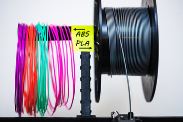 Fototapeta Loaded plastic filament on extruder with a sticky note that labels the variety of plastics used in 3d printing. obraz