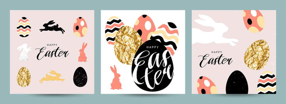 Happy Easter! Set of Easter cards, posters or flyers design with easter eggs and bunny. Cute vector flat illustration with calligraphy. Trendy design for social media, sale, advertisement, web