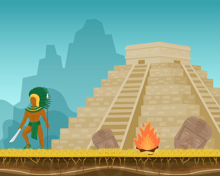 Aztec ancient warrior with knife, spear and feather headdress vector illustration. Pyramid, bonfire, face masks. Aboriginal mexican native ethnic tribal strong man character.