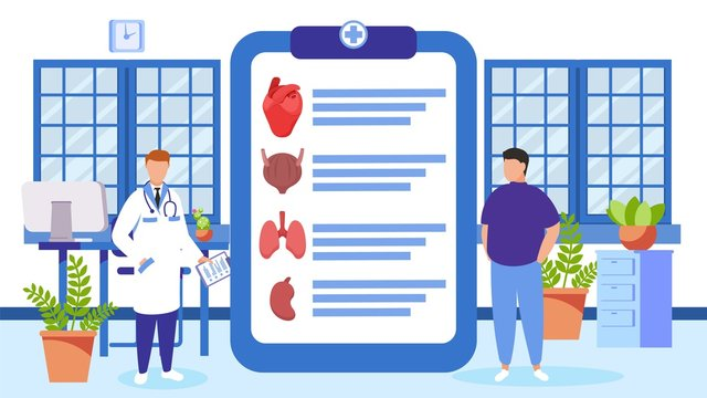Doctor and patient at health checkup vector illustration. Clipboard with list of internal organs to diagnosis. People doctor and visitor man in medical clinic office room.