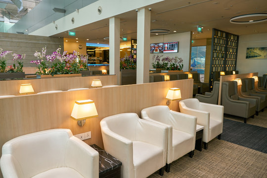 SINGAPORE - CIRCA APRIL, 2019: interior shot of SATS Premier Lounge at Singapore Changi Airport.