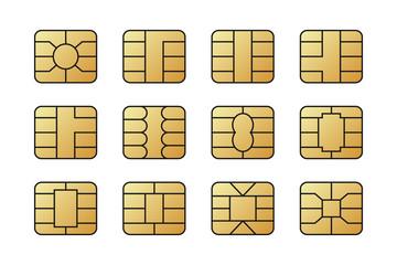EMV chips for banking plastic card. Digital Nfc technology. Bank payment symbols.