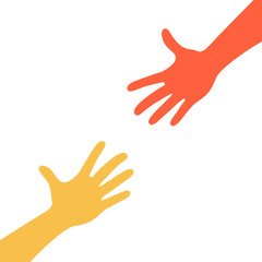 Two hands reaching to each other. Helping hand. Close up body part. Love relationship teamwork together. Vector illustration isolated on white background.