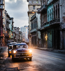 Traffic in old Havana in the evening, Cuba, Central America