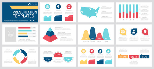 Set of yellow, red, blue and turquoise elements for multipurpose presentation template slides with graphs and charts.