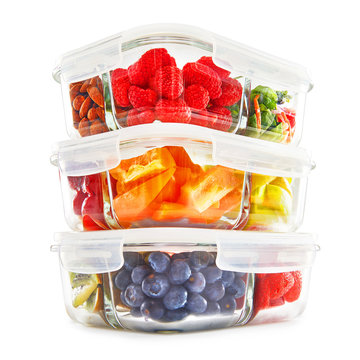 Glass Meal Prep Containers Isolated on White Background. Set of 30 Oz Food Storage Lunch Containers with 3 Compartment and Airtight & Leakproof Lids Filled with Fruits and Vegetables Front Side View