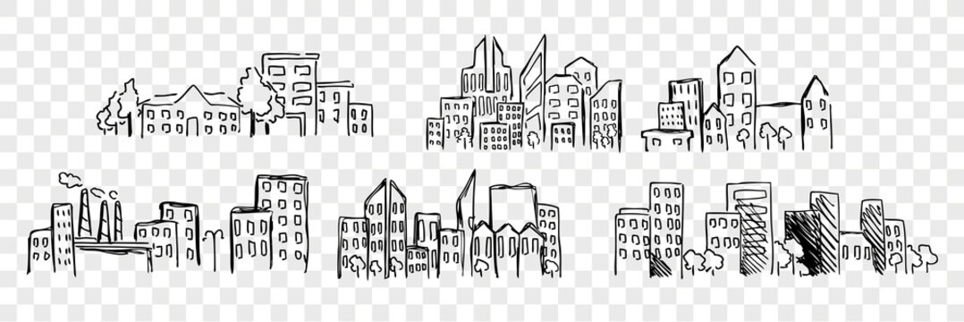 Hand drawn buildings, skyscrapper set collection