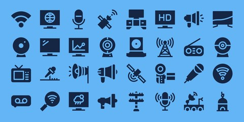 Modern Simple Set of broadcast Vector filled Icons