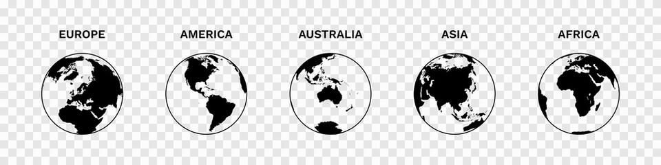 Fototapeta Set of Globe Illustration Vector of 5 Continents : Europe America Australia Asia Africa. World map vector illustration black silhouette bundle obraz