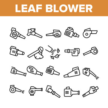Leaf Blower Equipment Collection Icons Set Vector. Leaf Blower Electronic Device, Cleaning Blowing Tool Machine, Gardening Appliance Concept Linear Pictograms. Monochrome Contour Illustrations
