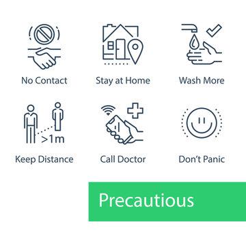 Virus outbreak precautions, preventive measures, safety instructions, pandemic quarantine, warning advice