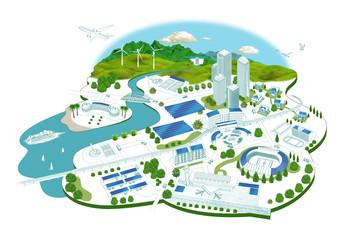 太陽光発電の街並み
