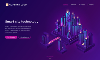 Fototapeten Violett Smart city technology for business and life. Isometric futuristic town with skyscrapers, subway train and taxi. Vector purple landing page for company website, innovation in urban infrastructure