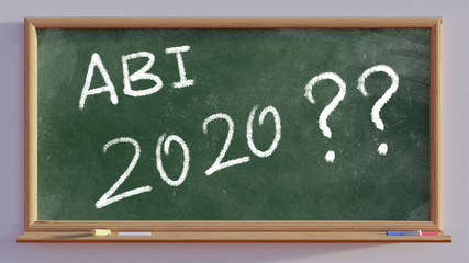 3D render of a blackboard with text Abi 2020