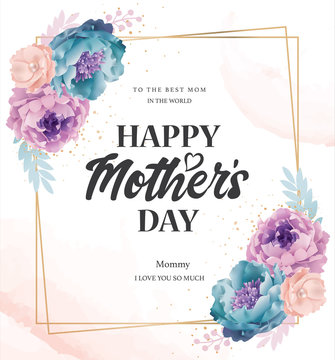 Mother's day greeting card with beautiful blossom flowers background
