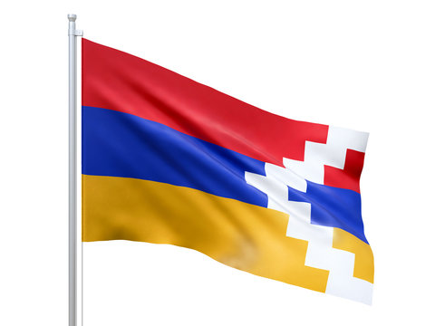 Artsakh flag waving on white background, close up, isolated. 3D render