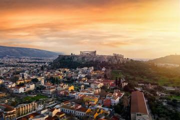 Fototapete - Luftaufnahme der Akropolis von Athen, Griechenland, bei Sonnenuntergang