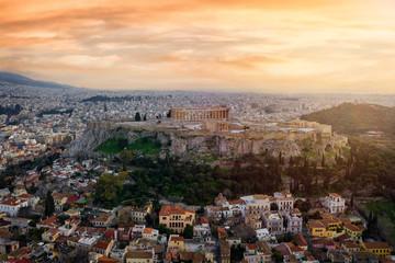 Fotomurales - Der antike Parthenon Tempel auf der Akropolis von Athen, Griechenland bei Sonnenuntergang