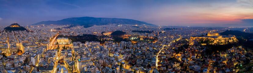 Fototapete - Panorama der beleuchteten Skyline von Athen, Griechenland, mit der Akropolis und zahlreichen Touristenattraktionen bis zum Hafen von Piräus