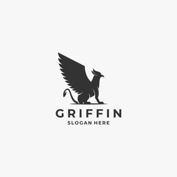 Vector Logo Illustration Griffin Silhouette Style.