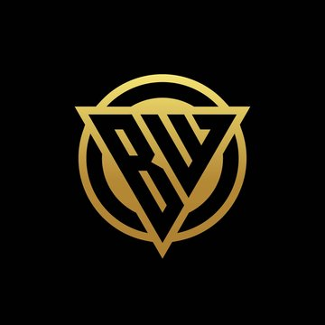 BW logo monogram with triangle shape and circle rounded isolated on gold colors