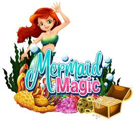 Photo sur Aluminium Jeunes enfants Font design for word mermaid magic on white background
