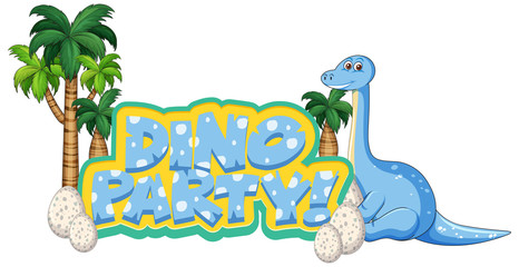 Spoed Foto op Canvas Kids Font design for word dino party with apatosaurus and egss