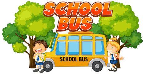 Spoed Foto op Canvas Kids Font design for word school bus with kids by the bus