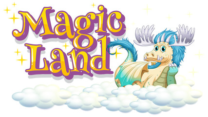 Spoed Foto op Canvas Kids Font design for word magic land with happy dragon on the clouds